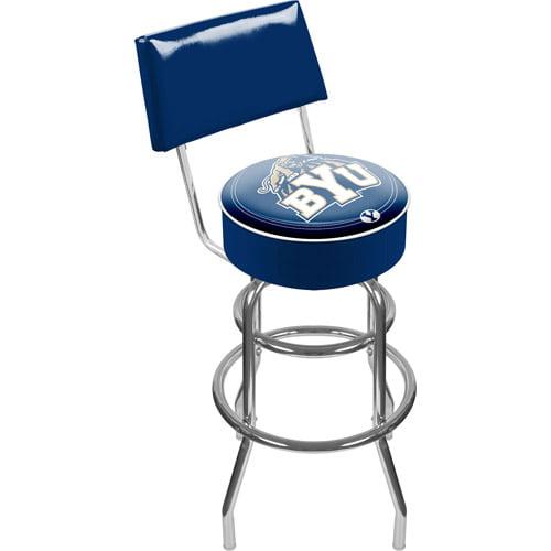 "Trademark NCAA Brigham Young University 40"" Padded Swivel Bar Stool with Back, Chrome"