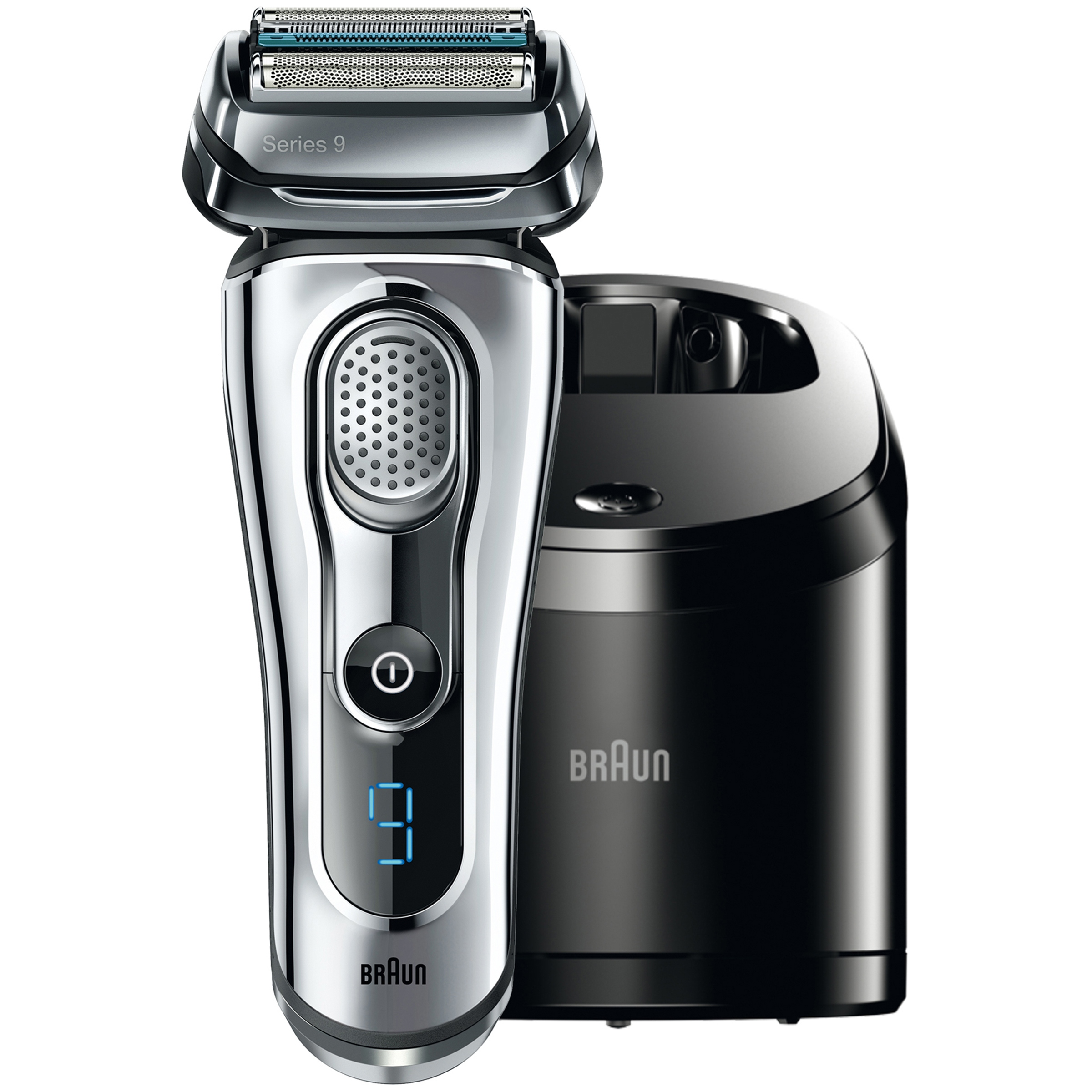 Braun Series 9 9090cc Premium Electric Shaver + Advanced Clean & Charge Station, 6 pieces