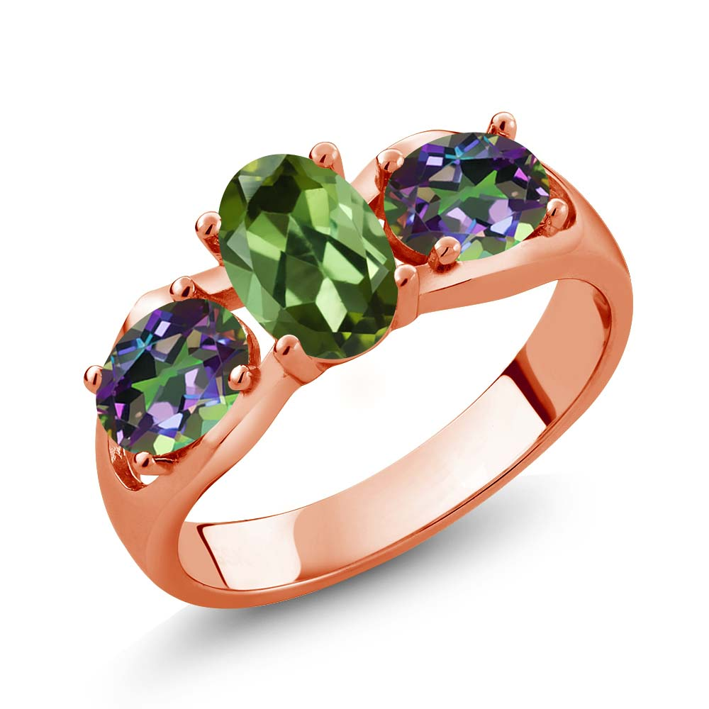 1.70 Ct Oval Green Tourmaline Green Mystic Topaz 18K Rose Gold Ring by