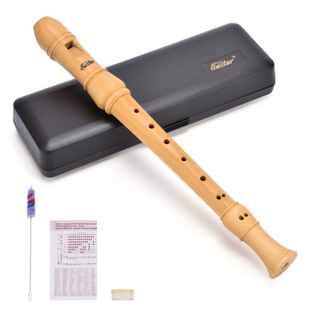 Soprano C Recorder Instrument, Eastar ERS-31BM Maple Wood 3 Piece With Hard Case,Joint Grease,Fingering Chart And Cleaning Kit (Angel Recorder Case)