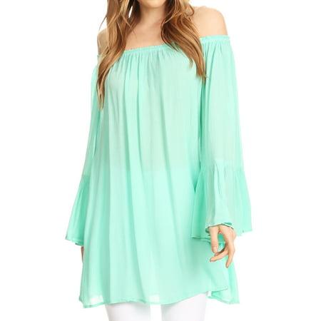 cb6b1e56b08870 Sakkas - Sakkas Anna Casual Flowy Wide Neck 3/4 Sleeve Light Summer Boho Blouse  Top - Light Mint - One Size Regular - Walmart.com