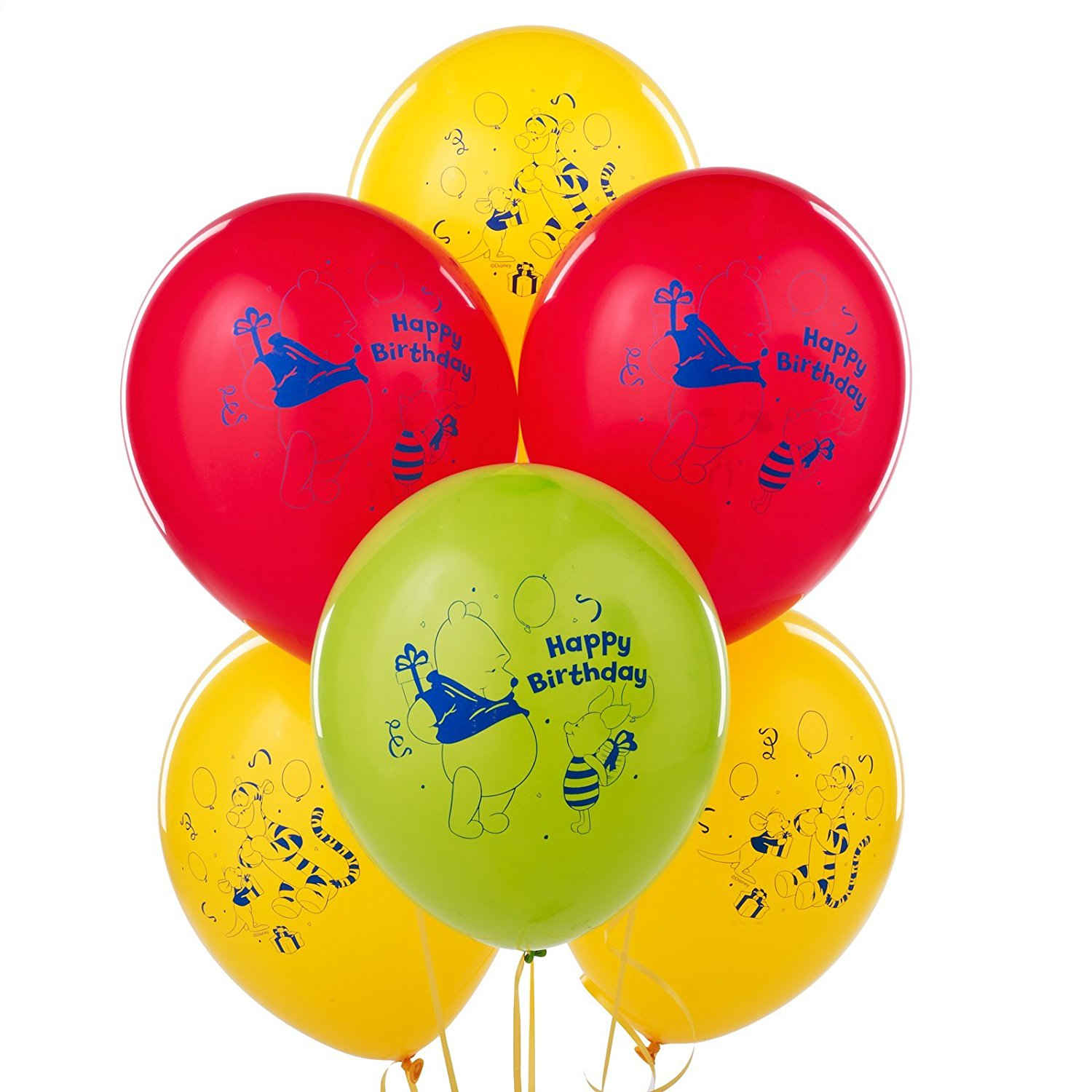 "Party Supplies - Pioneer Latex Balloons 6 ct 12"" Disney The Pooh Happy Birthday"