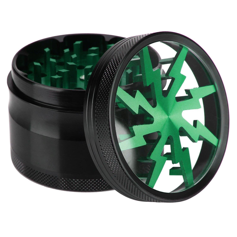 4 pc 2in. Spice crusher Magnet Herb Grinder & Scraper Lightning Bolt Green