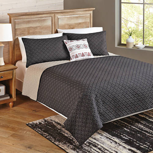 Better Homes and Gardens 4-Piece Solid Chevron Reversible Quilt Bedding Set, Full/Queen