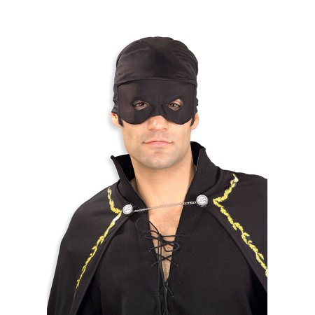 Adult Zorro Bandana with Eye Mask Dueling Blade Fencing Prop Accessory Halloween (Black Zorro Mask)