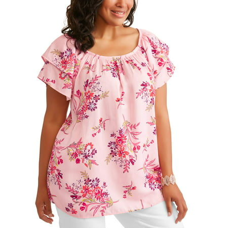 Womens Plus Double Layer Sleeve Peasant Top