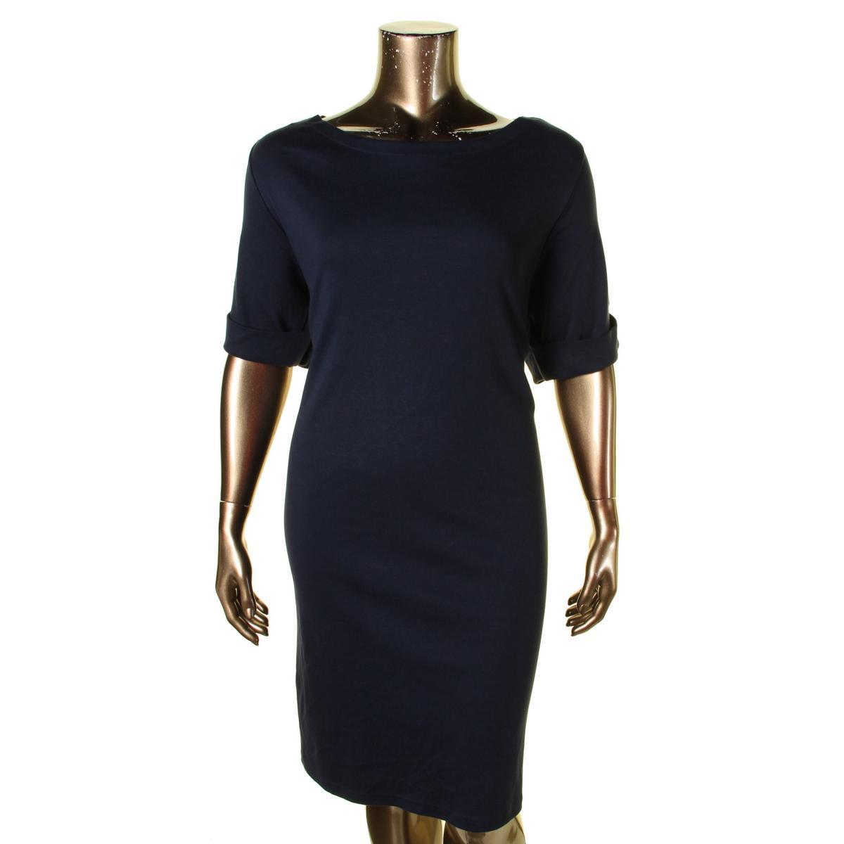 Karen Scott Womens Plus Boatneck Cuffed Casual Dress