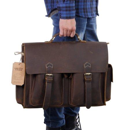 Lifewit Men's Leather Laptop Briefcase Luxury Handmade Messenger Bag Brown (Handmade Leather Bags)