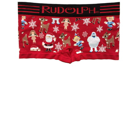 Womens Red Rudolph & Friends Boy Shorts Boyfriend Briefs Underwear Panties