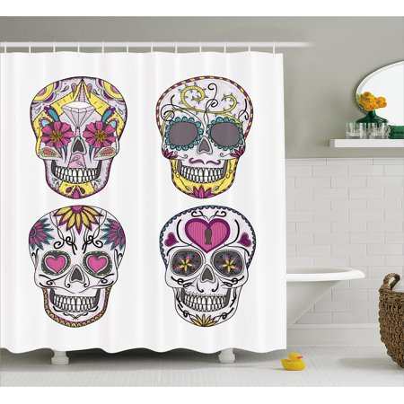 Sugar Skull Shower Curtain Mexican Style Traditional Skulls Set With Hearts Ornate Floral Motifs