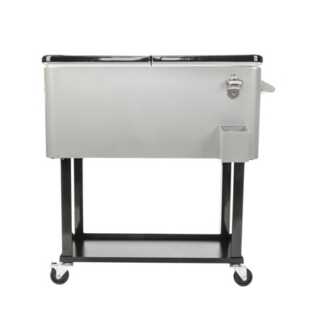 UBesGoo 80 Quart Patio Cooler Rolling Cooler Ice Chest with Shelf, Wheels and Bottle Opener, Stainless Steel Ice Chest Portable Patio Party Drink Cooling Cart