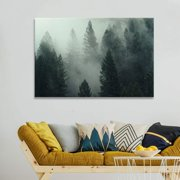 wall26 Canvas Wall Art - Pine Forest in The Fog - Giclee Print Gallery Wrap Modern Home Decor Ready to Hang - 32x48 inches