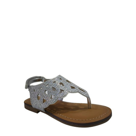 Wonder Nation Toddler Girls' Cutout Glitter Sandal - Girls Jeweled Sandals