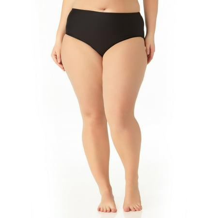 Catalina Women's Plus Size Black High Waist Swim (Black High Waist Bottom)