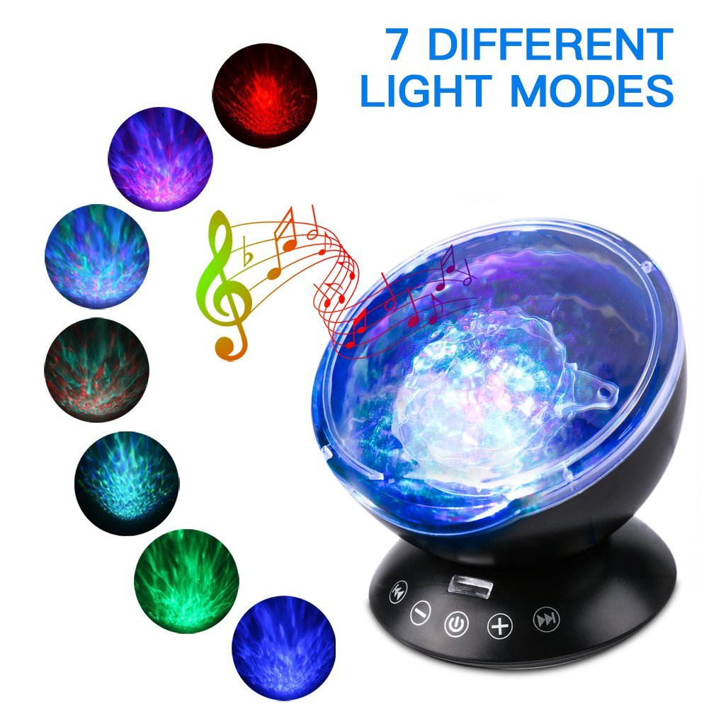 Ocean Light Projector Remote Lamp Wave Music LED Night Relaxing Autistic kids