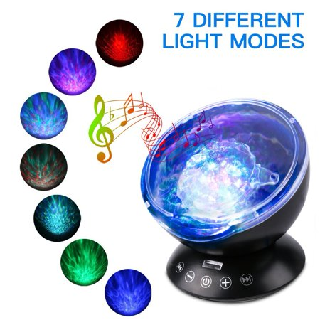 LED Ocean Wave Night Light Projector With 7 Colors Light Show Projection Built-in Soft Music Player Remote Control Fit for Indoor Kids Bedroom Party Dating Mood
