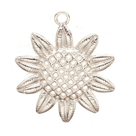 Pendant, Silver Plated Sun Flower Crystal Setting 50x43mm Fits 37pcs ss11/Pp22, 8pcs ss5/Pp11 Swarovski Crystals 2pcs/pack (3-Pack Value Bundle), SAVE -