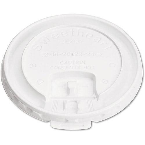 SOLO Cup Company Liftback & Lock Tab Cup Lids for Foam Cups, 10 oz, White, 1000 ct