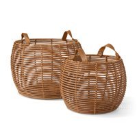 MoDRN Naturals Poly Rattan Basket with Leather Handle, Set of 2