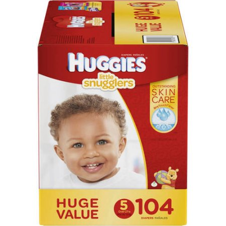 Branded HUGGIES Little Snugglers Diapers, Size 5, 104 Diapers , Weight 27lbs - Branded Diapers at Wholesale price (Soft and Comfortable for Babies)