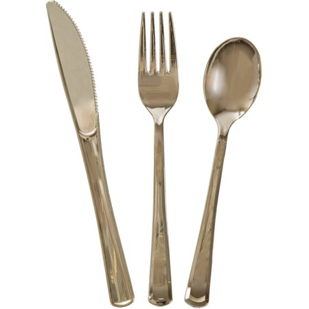 Unique Industries Assorted Plastic Silverware For 6, Metallic Gold, - Gold Plastic Silverware