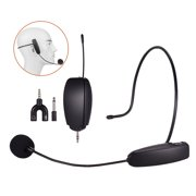 Portable 2.4G Wireless Microphone Mic System with Headset Microphone + 3.5mm Plug Receiver Built-in Rechargeable Battery