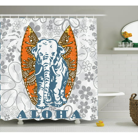 Elephants Decor Shower Curtain Set Surfboards And Elephant Floral Background Aloha Advertising Athlete Sport