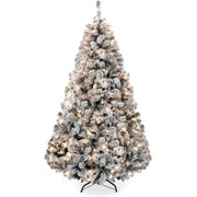 BIGTREE 7.5ft Pre-Lit Snow Flocked Artificial Christmas Pine Tree Holiday Decor w/ 550 Warm White Lights
