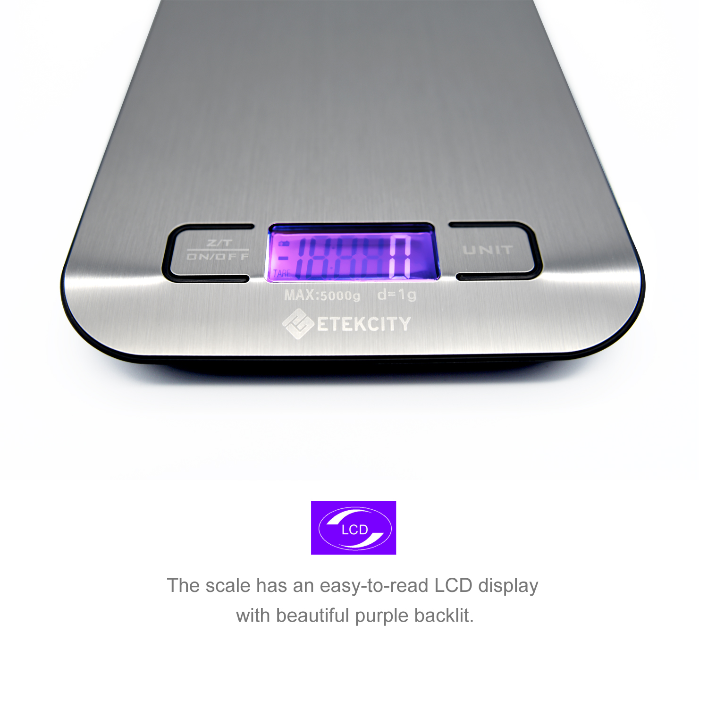 Etekcity Digital Kitchen Food Stainless Scale 11 lb/5kg,Silver ...