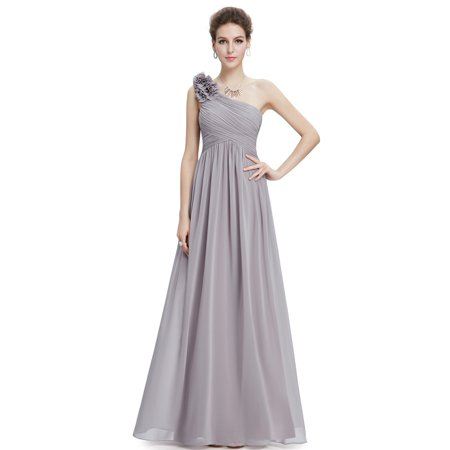 Ever-Pretty Women's Elegant Long Maxi One-Shoulder Summer Chiffon Beach Wedding Guest Bridesmaid Dresses for Women 08237 (Grey 4 US) Chiffon Empire Beaded Bodice Dress