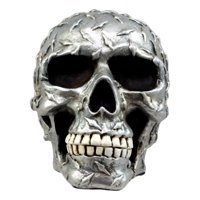 "Ebros Metallic Finish Diamond Plate Cranium Skull Figurine 4.5""L Resin Skull Ghost Statue"