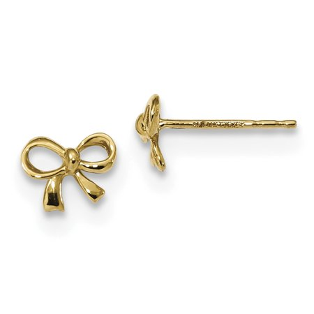 14k Yellow Gold Bow Post Stud Earrings Ball Button Gifts For Women For Her