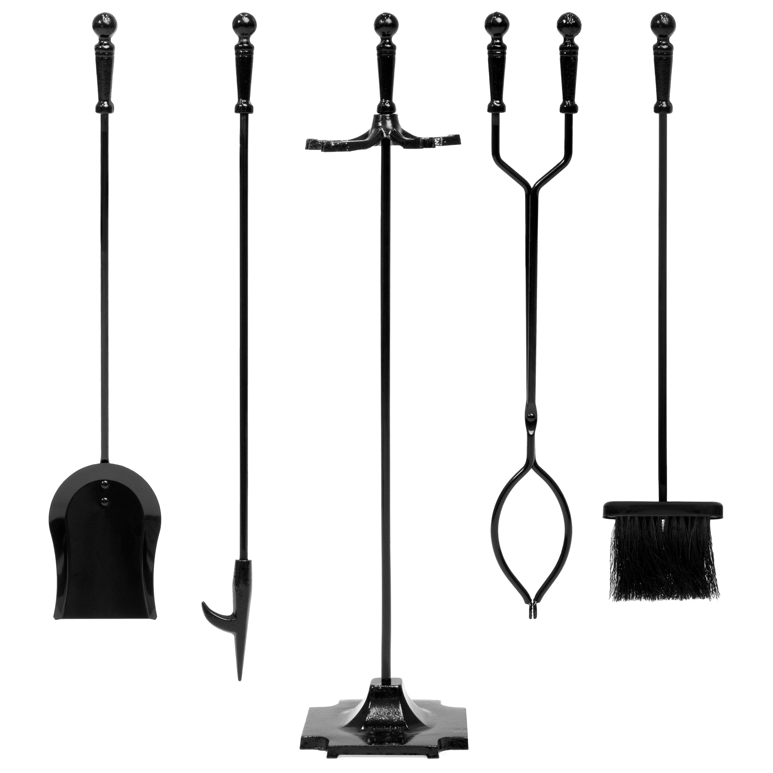 Best Choice Products 5-Piece Indoor Outdoor Fireplace Iron Tool Set w/ Tongs, Poker, Broom, Shovel, Stand - Black