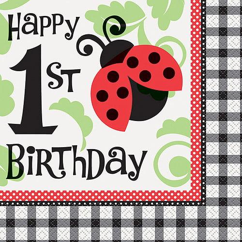 Ladybug Party 1st Birthday Party Napkins, 16ct