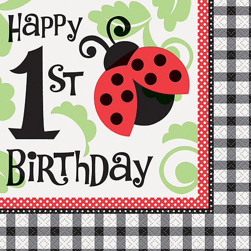 Ladybug Party 1st Birthday Party Napkins, 16ct