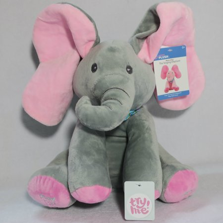 Singing Plush Flappy Grey/Pink Elephant Plays Peek a Boo and Sings