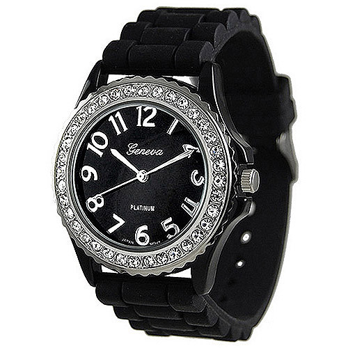 Brinley Co. Women's CZ Accented Silicone Link Watch