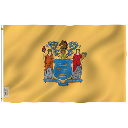 ANLEY Fly Breeze 3x5 Foot New Jersey State Flag - Vivid Color and UV Fade Resistant - Canvas Header and Double Stitched - NewJersey NJ Flags Polyester with Brass Grommets 3 X 5 Ft - Six Flags New Jersey Halloween 2017