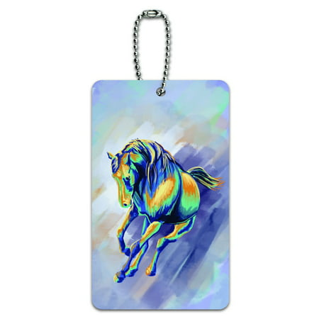 Graphics and More Horse Running Abstract - Painterly Expressionism ID Card Luggage Tag