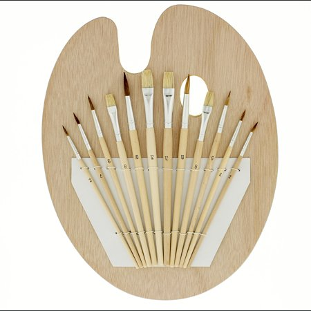 US Art Supply 12 Piece Brush Set with 9