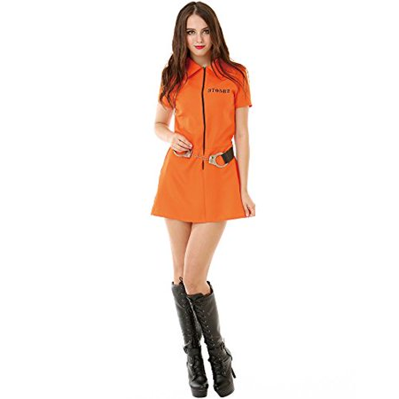 Jailbird Costume (Boo! Inc. Intimate Inmate Women's Halloween Costume Orange Black Jailbird)