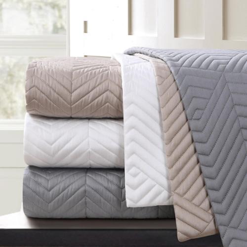 Echelon Home Echelon Monterey Quilted Cotton Euro Shams (Set of 2) Euro Shams Grey