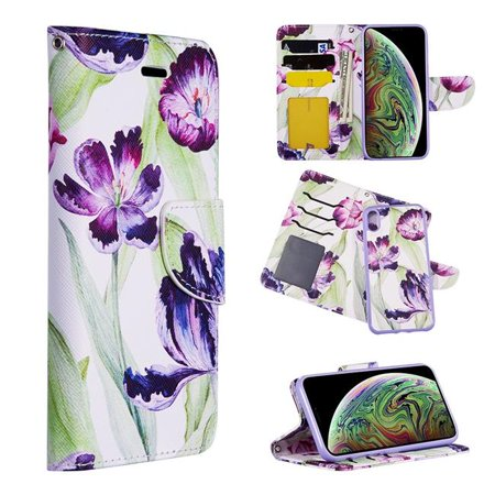 Detachable Id Window - Dream Wireless LPFIPXR-TRNDY-PPT The Detachable Trendy Leather Flip Wallet Case with ID Window Card Slots for iPhone XR - Purple Tulip