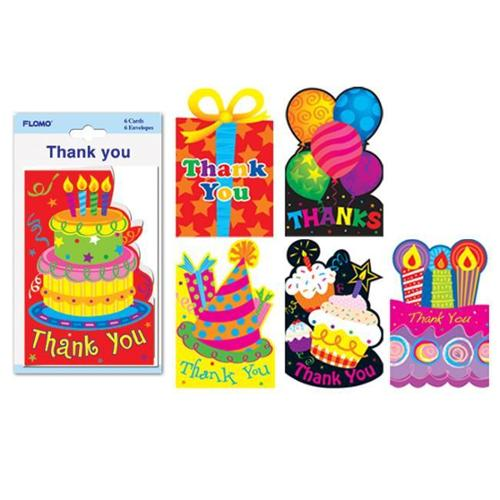 Flomo Die-Cut Birthday Thank You Cards with Envelopes (6 pack)