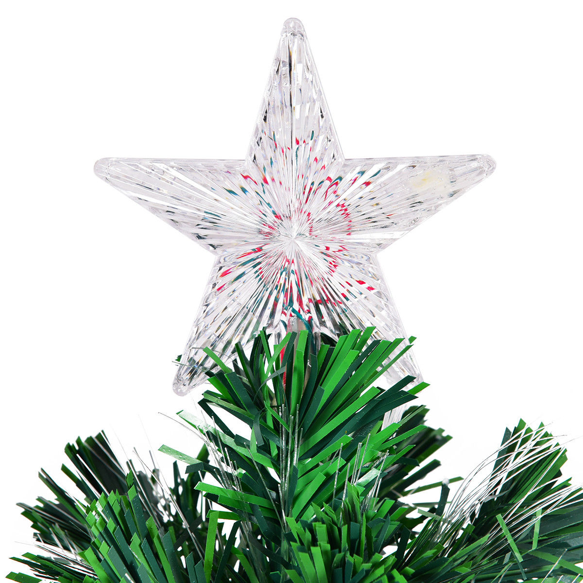Costway 4FT Pre-Lit Fiber Optic Artificial Christmas Tree w ...