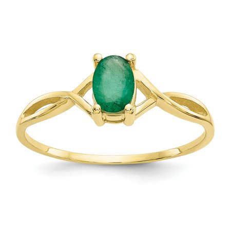 Roy Rose Jewelry 10K Yellow Gold Genuine Emerald Birthstone Ring - Size: 6