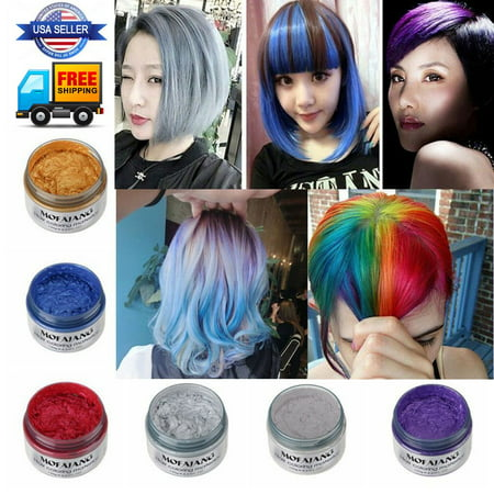 Temporary White Hair Color Spray (Unisex DIY Hair Color Wax Mud Dye Cream Temporary Modeling 7 Colors mofajang)