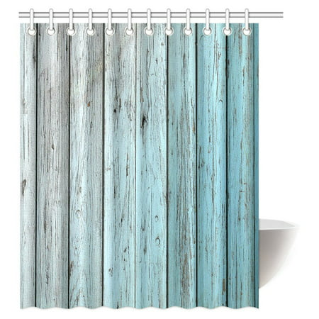 MYPOP Village Rustic Wood Panels Fabric Bathroom Shower Curtain Decor Set with Hooks, 60 X 72 Inches, Teal Grey (Shower Curtain Teal Grey)