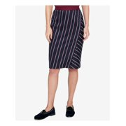 TOMMY HILFIGER Womens Navy Zippered Striped Knee Length Pencil Wear To Work Skirt  Size: 2