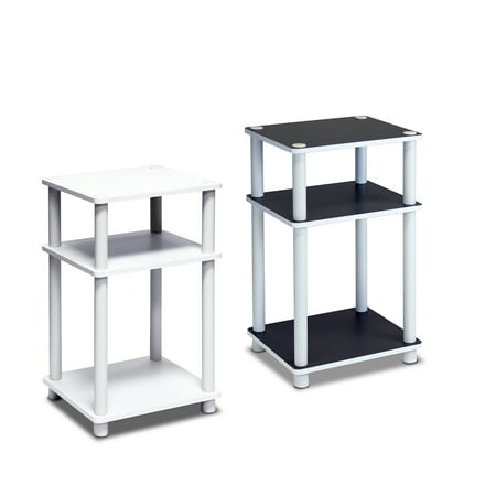 Furinno 2-11087 Just 3-Tier No Tools Tube End Table, White w/White Tube, Set of 2 White Antique End Table